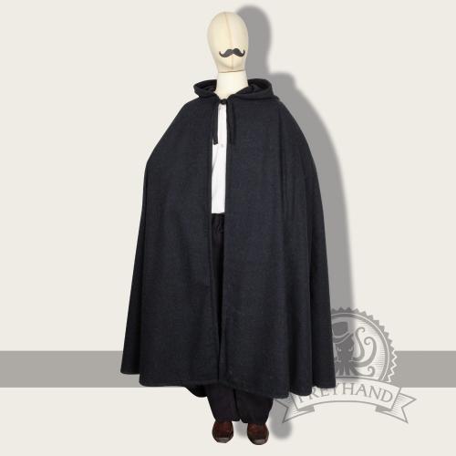 Galanthus Umhang mit Kapuze, Wolle, schwarz