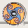 LARP Schild orange blau Motiv, Ornament
