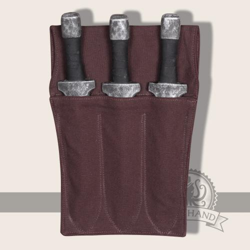 Kerria triple throwing knife holder, brown